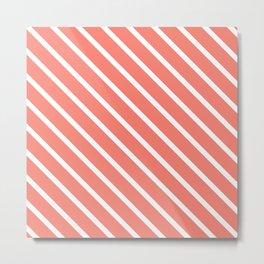 Coral Pink Diagonal Stripes Metal Print
