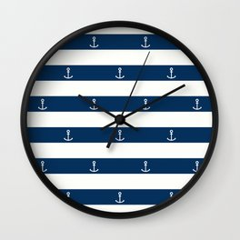 SAILORS ANCHOR STRIPES Wall Clock