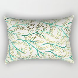 Green & Gold Branches Rectangular Pillow