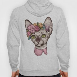 Hand drawn portrait of cute Sphinx cat with a wreath on head Hoody