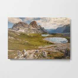 Lakes near the famous 3 Peaks in the Dolomites Metal Print