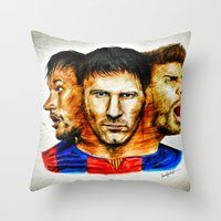 neymar Throw Pillows featuring Barcelona by IremYorukoglu