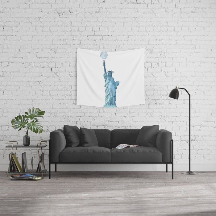 Statue of Liberty with Tennis Racquet Wall Tapestry