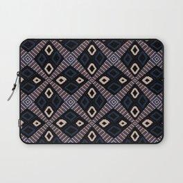 African Mud Cloth Inspired   Diamond Pattern Blue/Black Laptop Sleeve