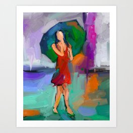 Abstract figurative painting, Woman With Umbrella Art Print