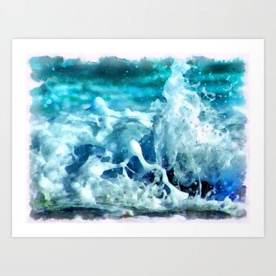 Sea Splash Watercolor Art Print
