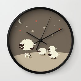 Sheeps jumping across a Fence Wall Clock