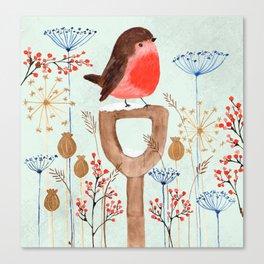 Robin in a Winter Garden Canvas Print