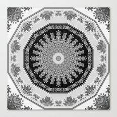 Shades of Grey - Geometric Floral Pattern Canvas Print