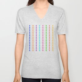 Geometric Droplets Pattern - Rainbow Colors on White Unisex V-Neck
