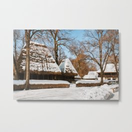 Season Greetings from a picturesque Romanian Village Metal Print