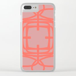 Medallion Pressed Rose & Living Coral Clear iPhone Case