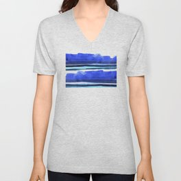 Wave Stripes Abstract Seascape Unisex V-Neck