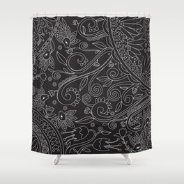 Sketchbook drawing (White on Black) Shower Curtain