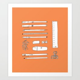 Stationery in orange Art Print