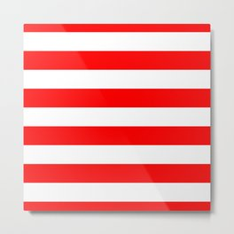 Australian Flag Red and White Wide Horizontal Cabana Tent Stripe Metal Print