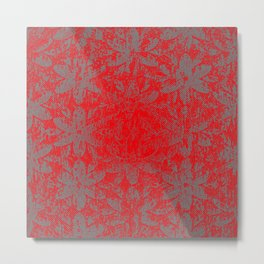 Snowy Red Halftone Flowers Metal Print