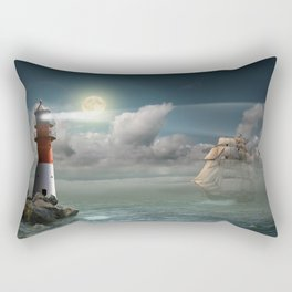 Lighthouse Under Back Light Rectangular Pillow