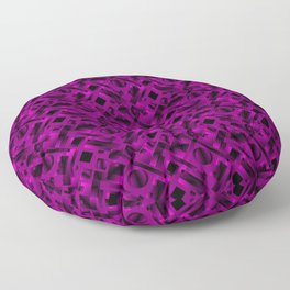 Stylish design with rotating circles and violet rectangles from dark stripes. Floor Pillow