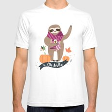 Comfy Sloth for the Fall & Pumpkin Mens Fitted Tee SMALL White