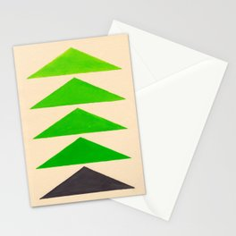Colorful Green Geometric Triangle Pattern Stationery Cards