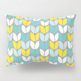 Tulip Knit (Aqua Gray Yellow) Pillow Sham