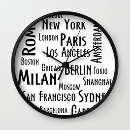 New York, Los Angeles and others city . Fashion Chic Home Decor Graphicdesign Wall Clock