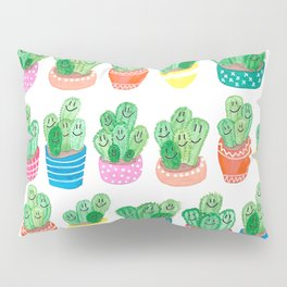 Cacti in fancy pots with smily faces. Pillow Sham