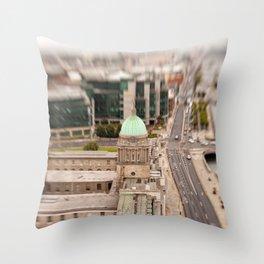 Dublin city center aerial view Throw Pillow