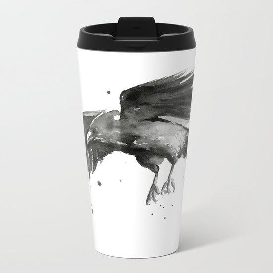 Raven Watercolor Bird Painting Black Animals Metal Travel Mug