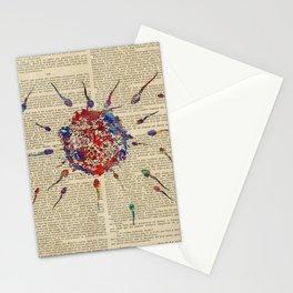 spermatozoa floating to ovum Stationery Cards