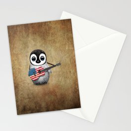 Baby Penguin Playing American Flag Acoustic Guitar Stationery Cards