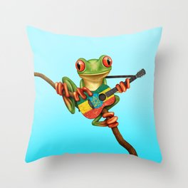 Tree Frog Playing Acoustic Guitar with Flag of Ethiopia Throw Pillow