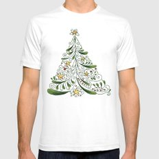 Christmas Tree SMALL Mens Fitted Tee White