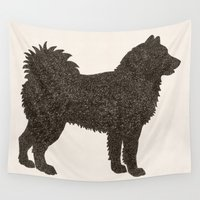 husky Wall Tapestries featuring DOG IV - HUSKY by Alisa Galitsyna