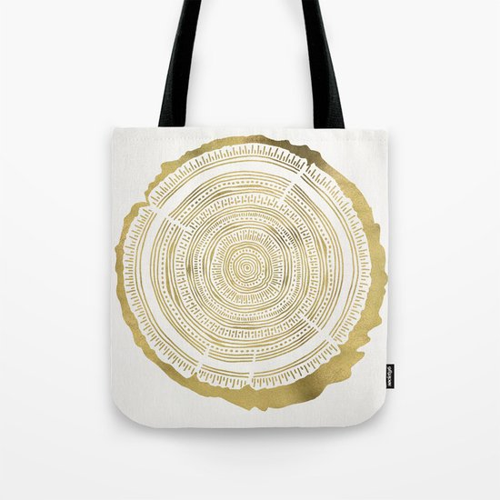 Douglas Fir – Gold Tree Rings Tote Bag