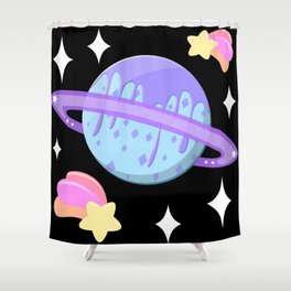 Melty Minty Planet Shower Curtain