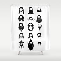 nori Shower Curtains featuring The Bearded Company Black and White by Paranoia mit Sahne