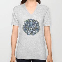 Octopus Emblem Blue Unisex V-Neck