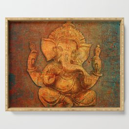Lord Ganesh On a Distress Stone Background Serving Tray