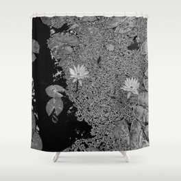 Black and White Lily Pond Shower Curtain