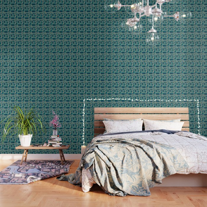 Geometric Rectangles in Navy, Teal and Tan 2 Wallpaper by fischerfinearts