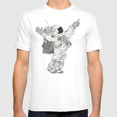 Astronaut Welcoming Visitors MEDIUM Mens Fitted Tee White