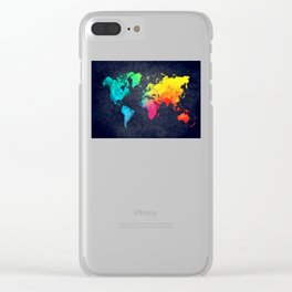 World map watercolor 6 Clear iPhone Case
