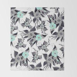 Modern spring grey mint green watercolor floral illustration pattern Throw Blanket