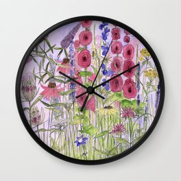 Watercolor Wildflower Garden Flowers Hollyhock Teasel Butterfly Bush Blue Sky Wall Clock