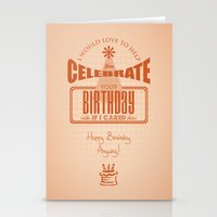 sarcasm Stationery Cards featuring Birthday Sarcasm by WStohsCreative
