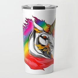 Cute Metal Rainbow Unicorn Metallic Mythical Horse Travel Mug