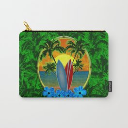Sunset Surfboards And Palm Trees Carry-All Pouch