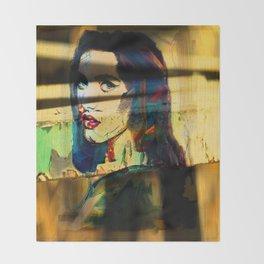 Painted Persephone On Rust Throw Blanket